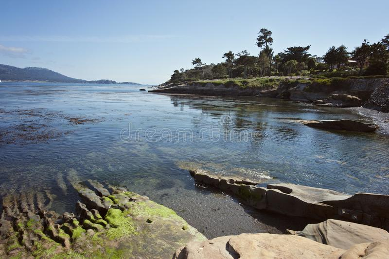 Pebble Beach along the Monterey Bay stock photo