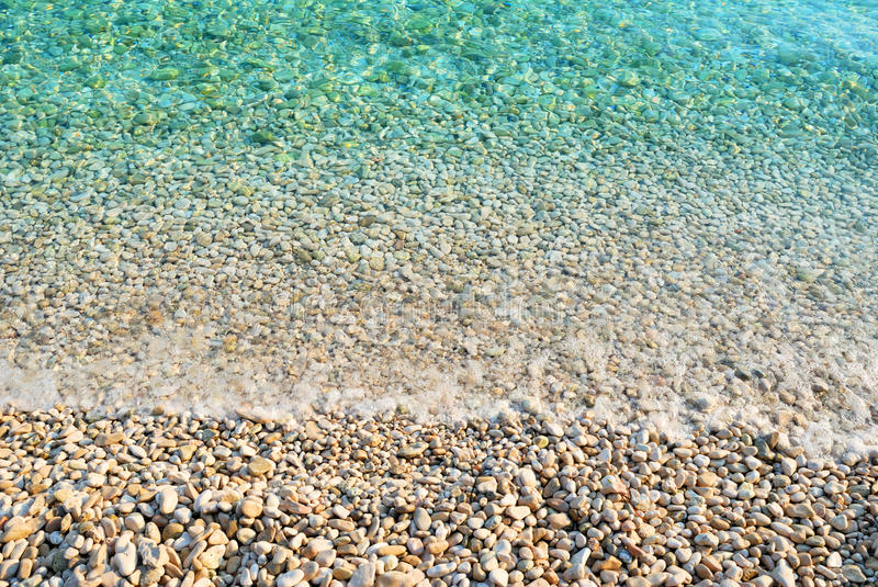 Download Pebble Beach With Azure Sea Water Texture Stock Photo - Image: 38493264