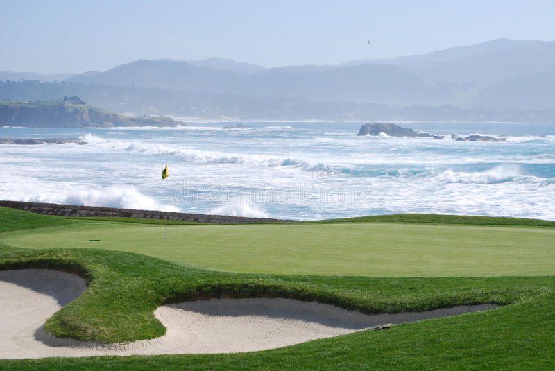 Pebble Beach Golf course. During National ATT Open 18th hole stock images