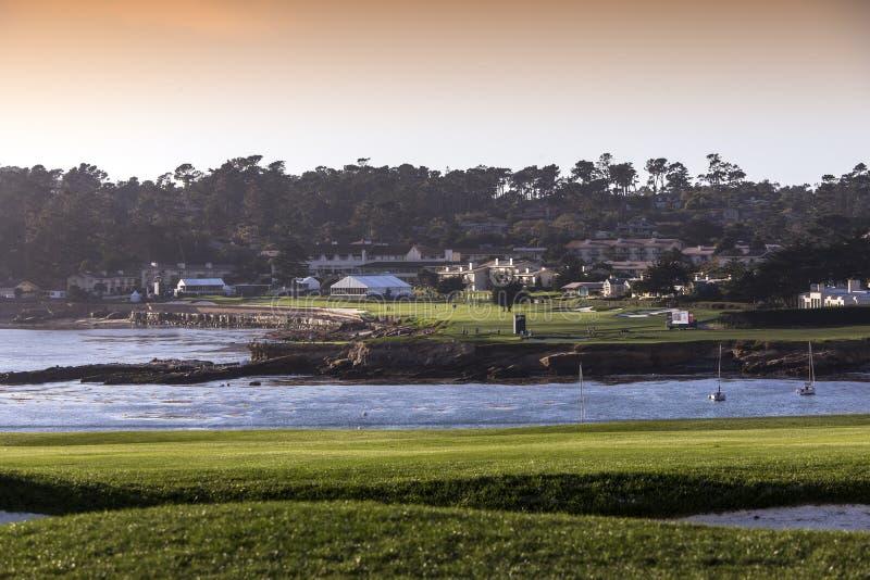 Pebble Beach golfbana, Monterey, Kalifornien, USA royaltyfri bild