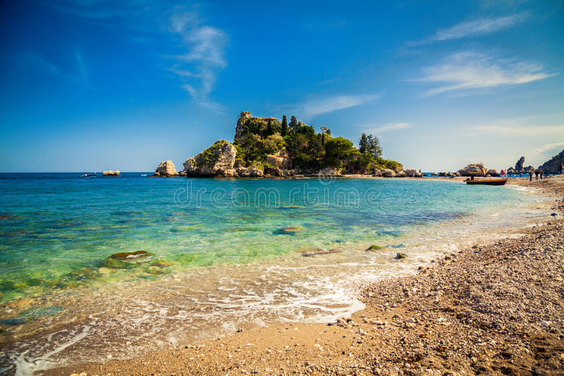 Pebble Beach Isola Bella in Taormina immagine stock libera da diritti
