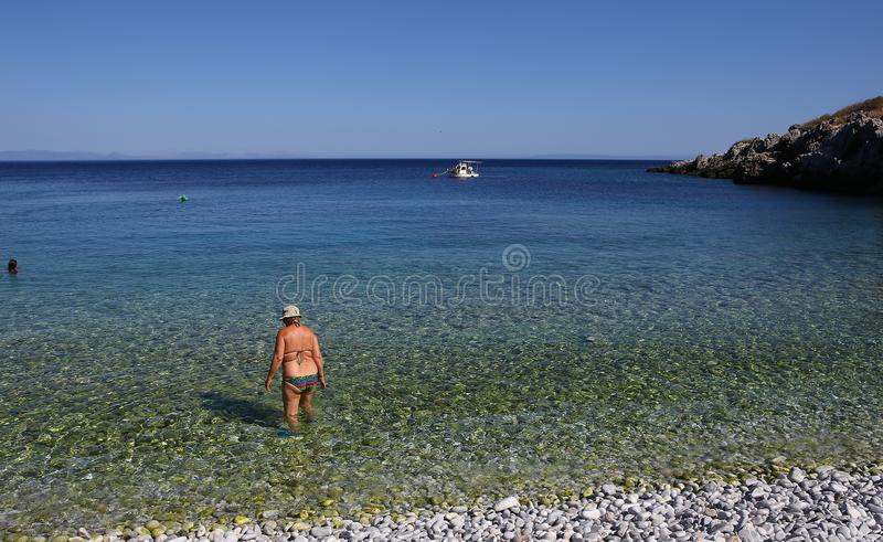 Pebble beach of Kokkala village, Peloponnese, Greece stock photos