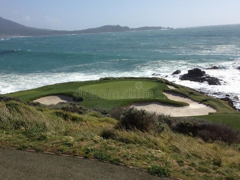 Pebble Beach 7th Hole Golf Water grass bunker. A picture of the 7th hole at Pebble Beach stock photo