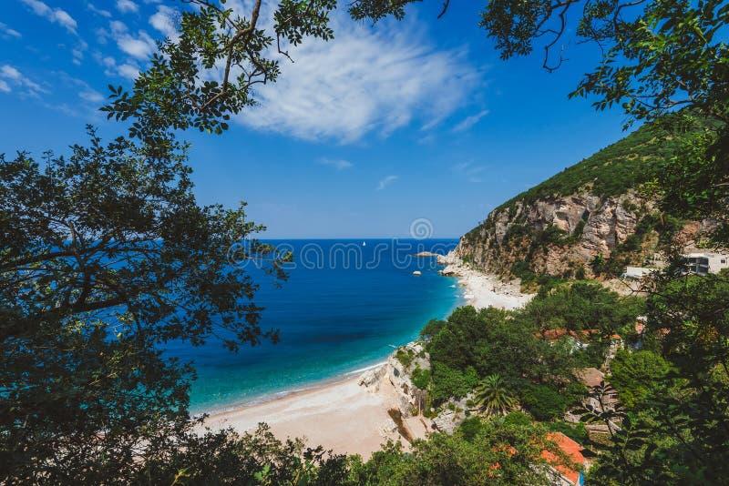 Pebble Beach vicino a Perazica fa, il Montenegro fotografia stock libera da diritti