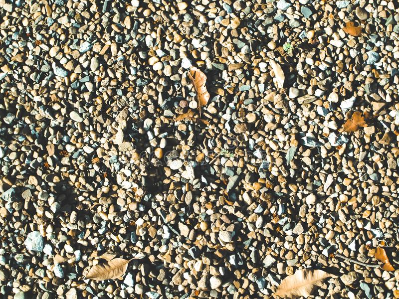 Pebble or stone and rock dried fallen leaves ground on sand beach or river summer holiday background stock image