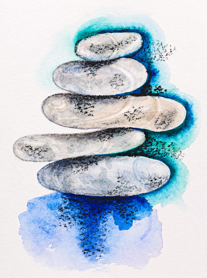 Pebble stones heap harmony symbol. Watercolor with slate-pencil painting vector illustration
