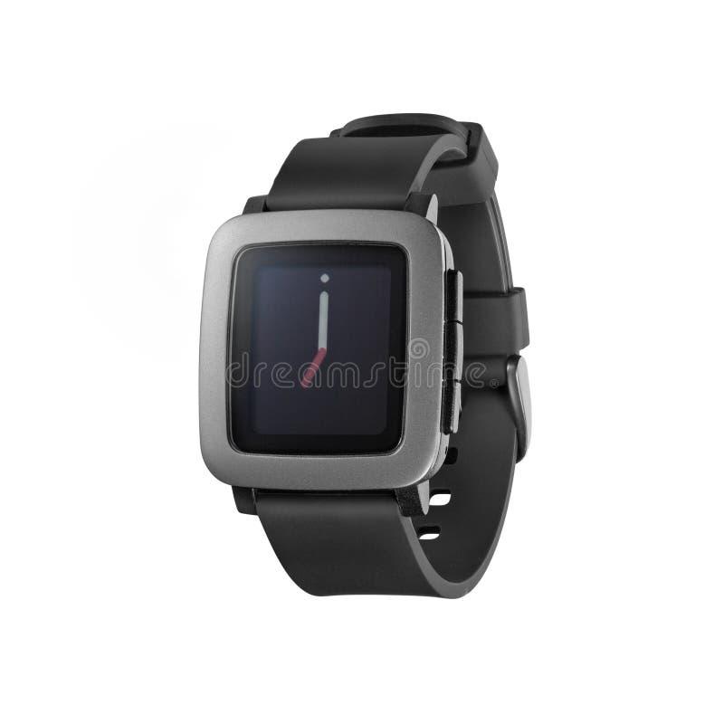Pebble Time smartwatch. Kiev, Ukraine - June 22, 2015: Photo of new Pebble Time smartwatch isolated on white. Product shot royalty free stock images