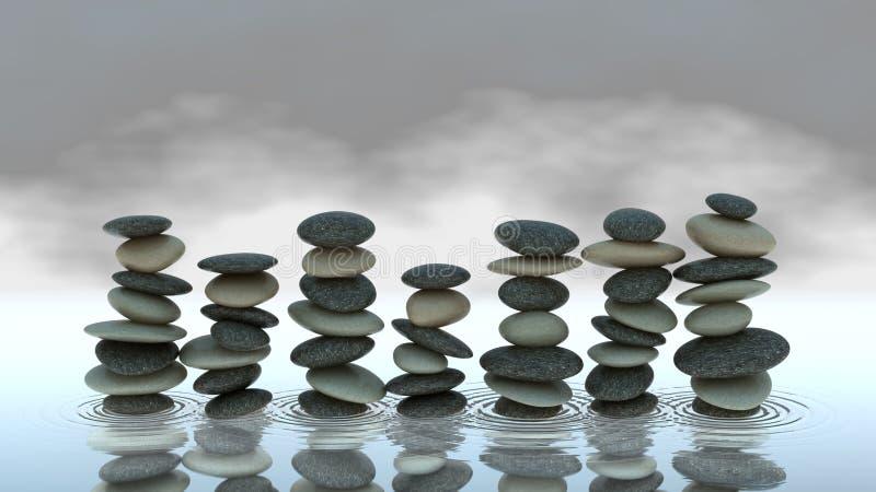 pebblen för gruppnivån staplar vatten arkivbilder