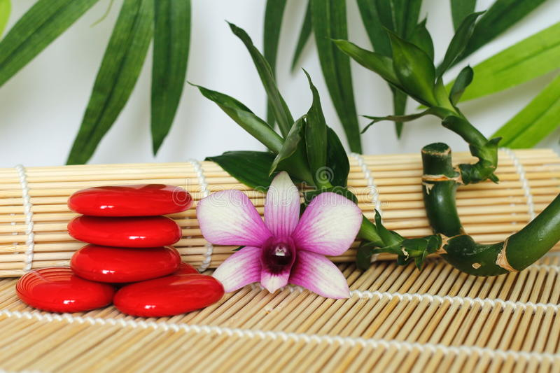 Pebbles arranged in Zen lifestyle with a orchid on the right side of bamboo twisted on wooden floor and foliage backg. Red pebbles arranged in Zen lifestyle with stock photography