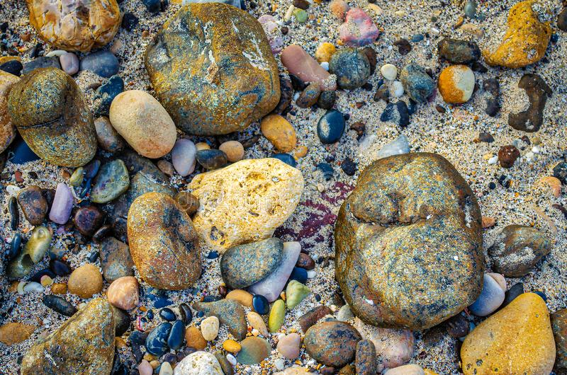 Pebbles on the beach stock photography