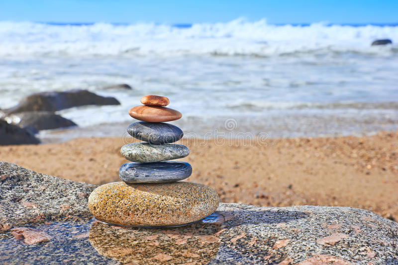 Pebbles on Beach, Symbols Of Peace royalty free stock photography