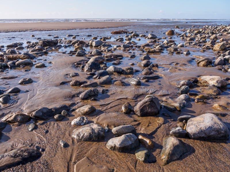 Pebbles and Rocks. On the beach at Ynyslas near Borth, Ceredigion stock photo