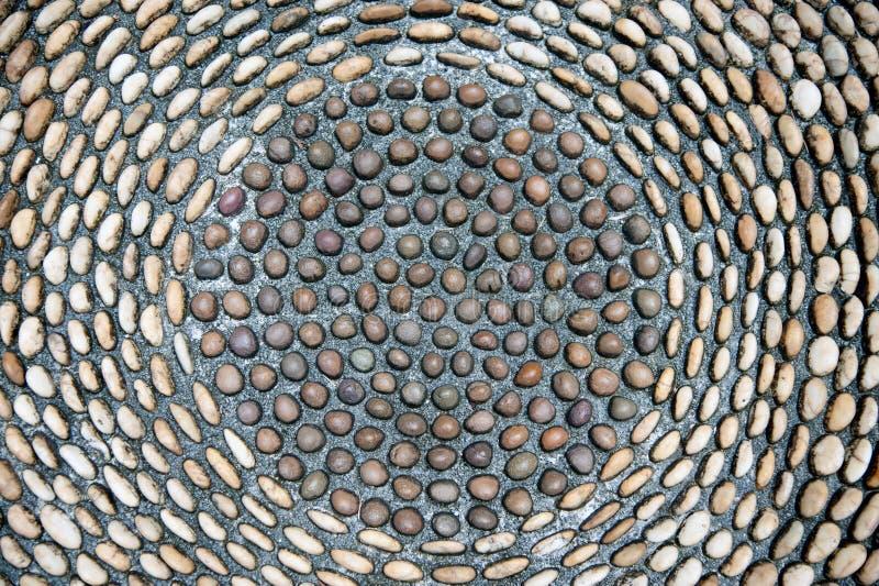 Pebbles stone pattern on the floor. stock image