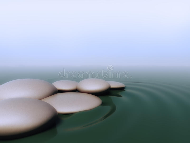 Pebbles in water stock illustration