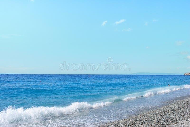 Pebbly beach and tropical sea. Calabria, Italy royalty free stock photo
