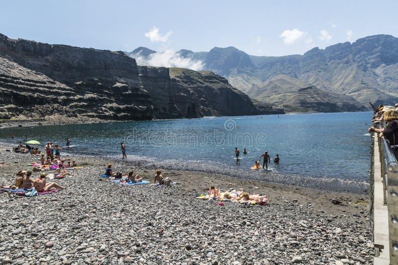 Pebbly strand på Puerto de las Nieves, på Gran Canaria arkivfoton