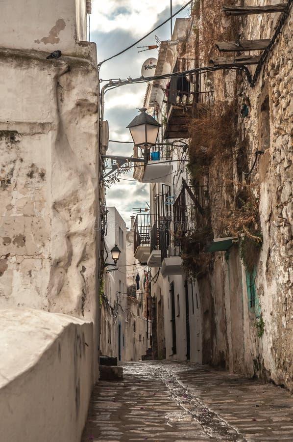 Free Peble Stone Street In Old Town Of Ibiza Stock Photos - 55418923