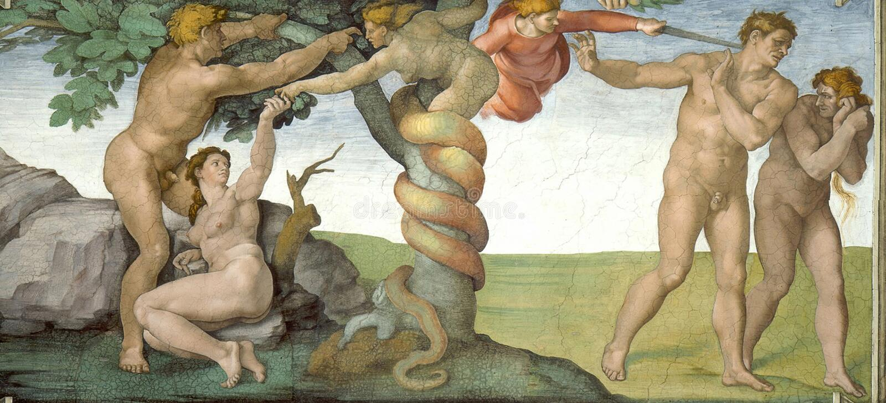 Pecado original y expuslion de Eden imagen de archivo libre de regalías