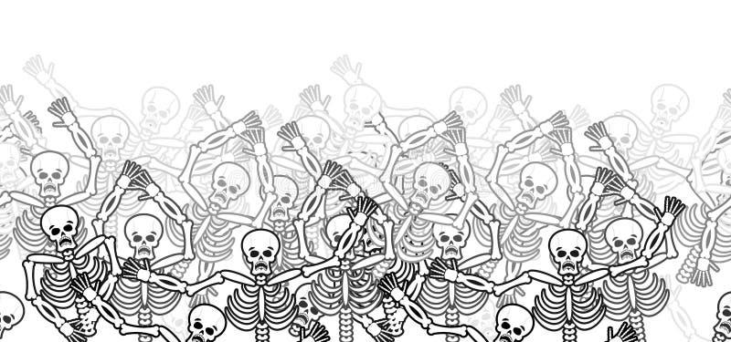 Pecadores en modelo horizontal del infierno del fuego muertos en Gehenna Skele stock de ilustración