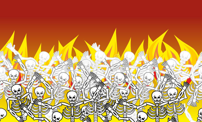 Pecadores en modelo horizontal del infierno del fuego muertos en Gehenna Skele ilustración del vector