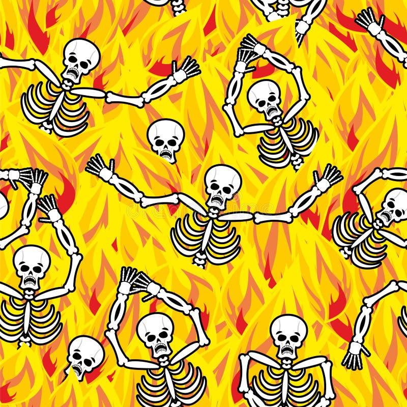 Pecadores en modelo inconsútil del infierno del fuego muertos en Gehenna esqueleto stock de ilustración