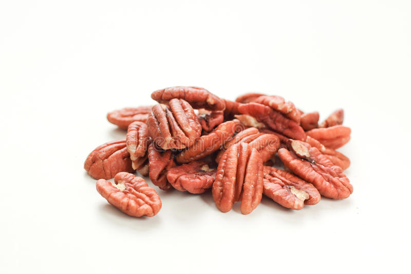 Pecan. Bunch of Pecan on a white background royalty free stock photography