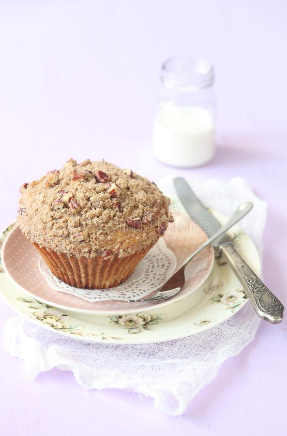 Pecan Muffin with Streusel Topping stock photos