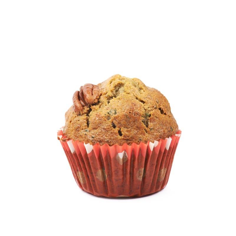 Pecan nut cupcake isolated royalty free stock photos