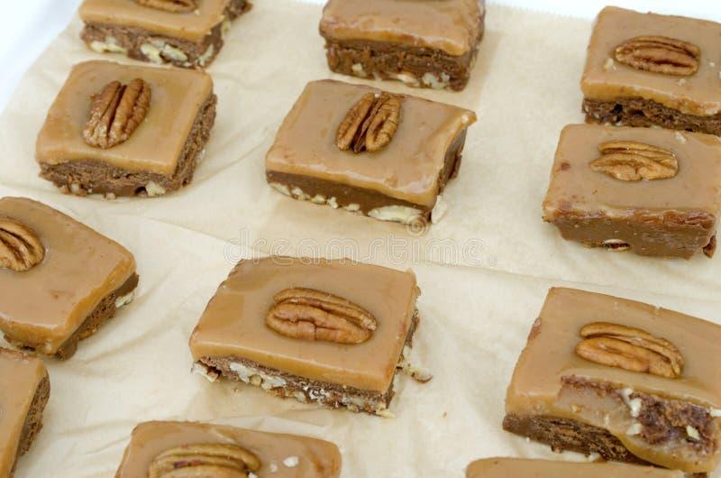 Pecan. Sweet dessert pecan cookie bars stock photography