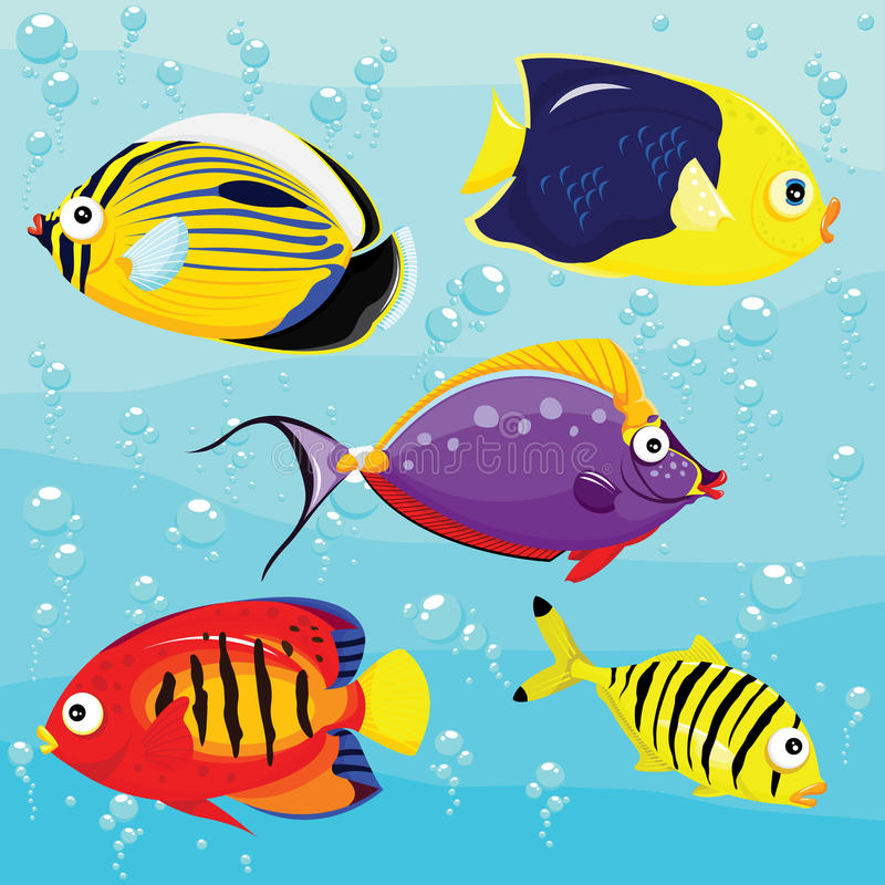 Peces de mar fijados libre illustration