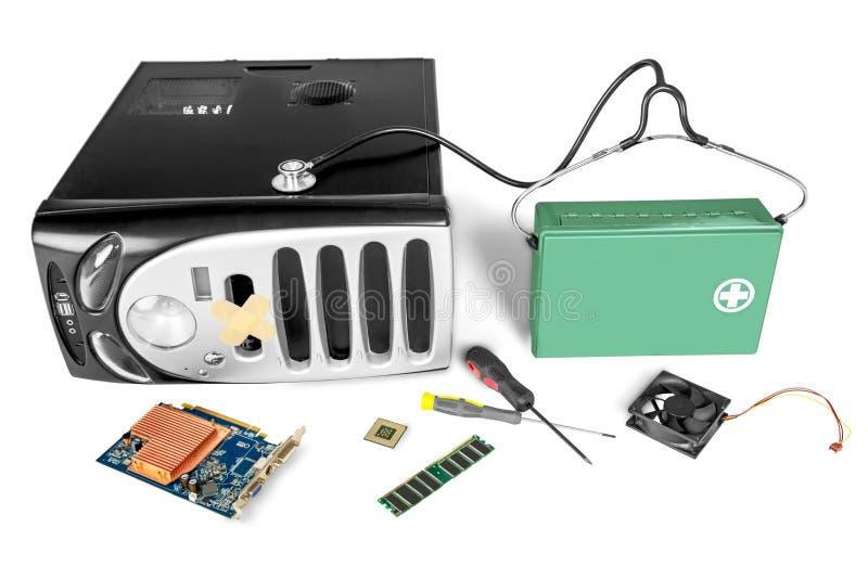 PECET komputerowa skrzynka i komputer płyta główna odizolowywająca obrazy stock