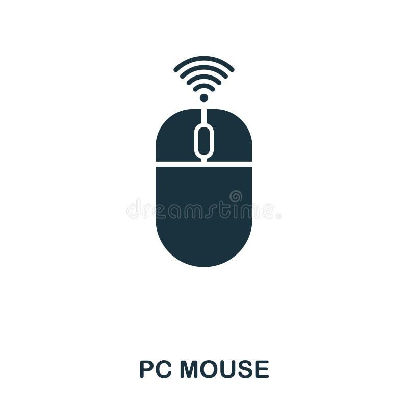 PECET myszy ikona Kreskowego stylu ikony projekt Ui Ilustracja komputer osobisty myszy ikona piktogram odizolowywający na bielu P ilustracji