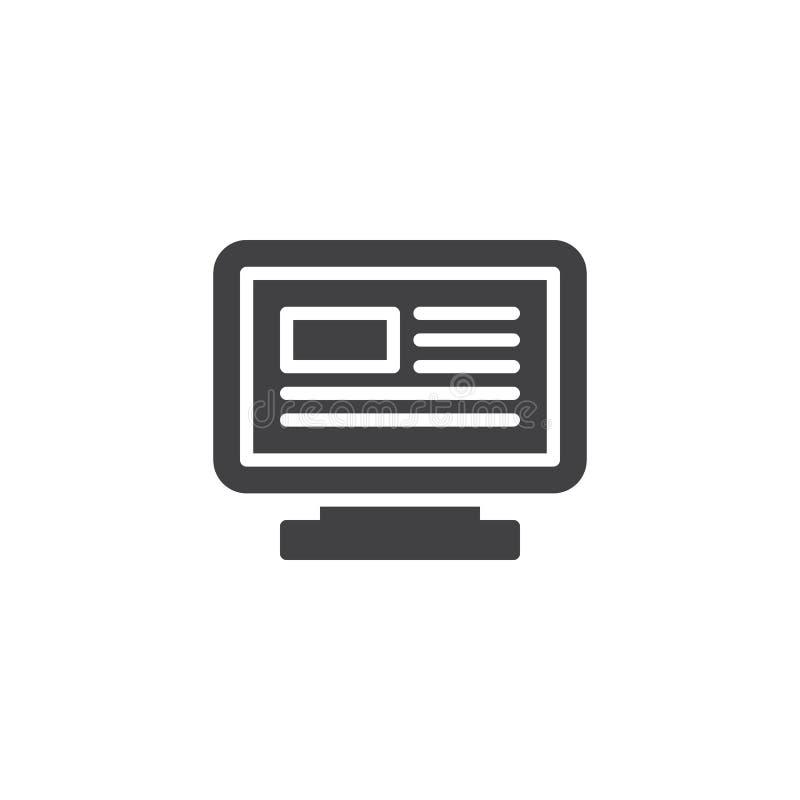 PECETA monitor z strony internetowej strony wektoru ikoną royalty ilustracja