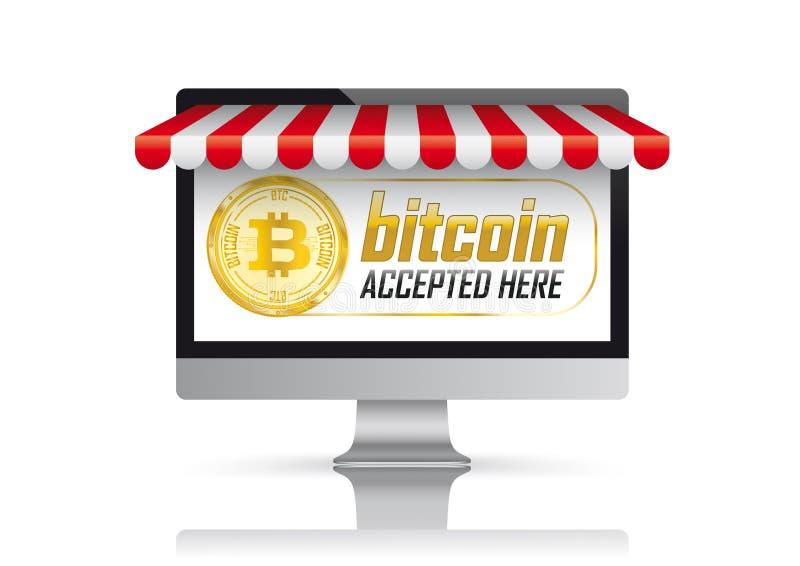 PECETA monitoru Czerwona markiza Bitcoin Akceptujący Tutaj ilustracja wektor
