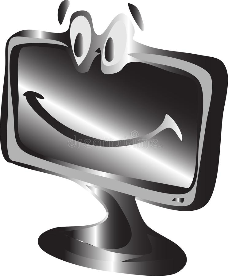 PECETA monitoru metalu koloru wektor Pusta ekranu komputerowego tła ikona ilustracja wektor