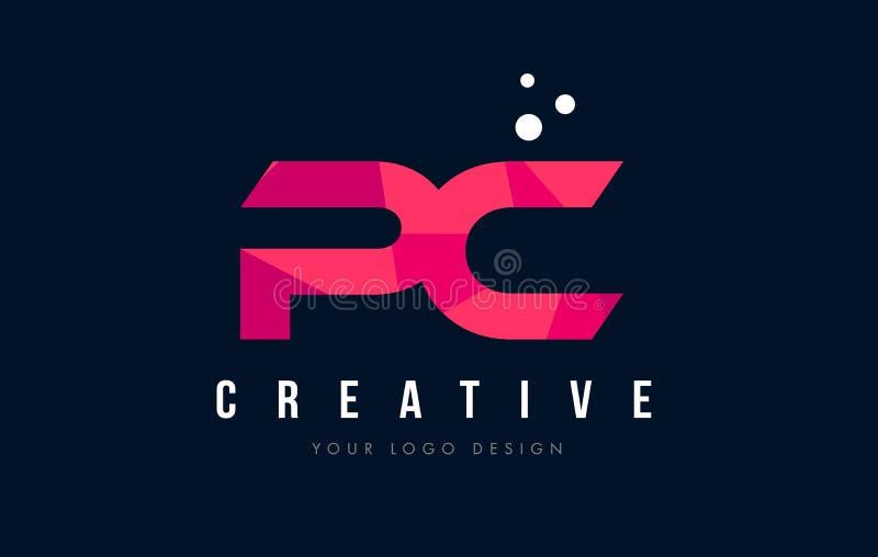 PECETA P C listu logo z Purpurowym Niskim Poli- Różowym trójboka pojęciem ilustracja wektor
