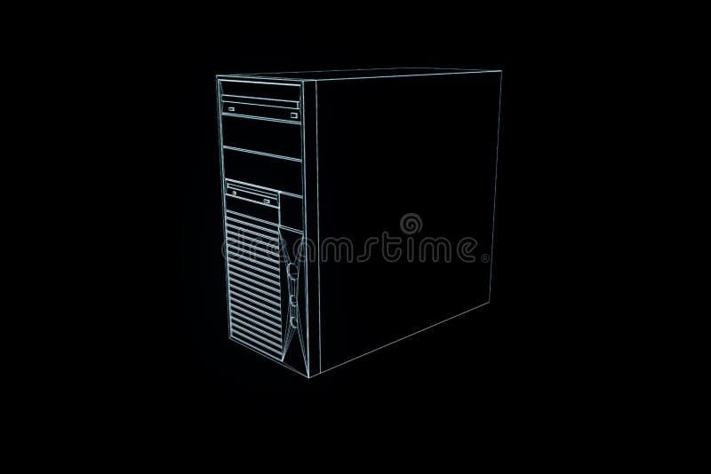PECETA wierza w holograma Wireframe stylu Ładny 3D rendering ilustracji