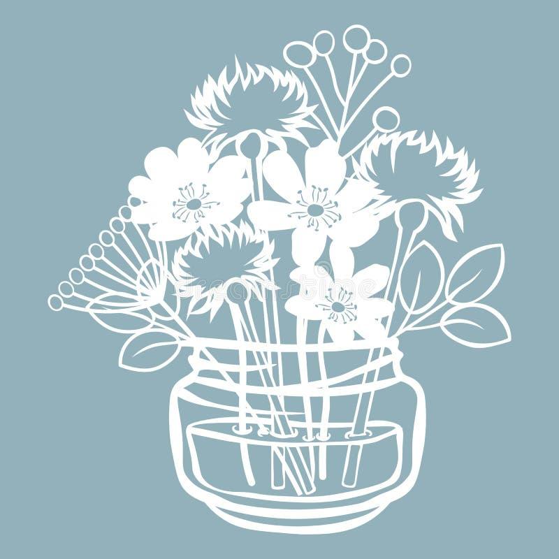 Pechenocna, dente-de-leão e stokesia em um frasco da água Ilustração do vetor Flor de papel, etiquetas Corte do laser Molde para  ilustração stock