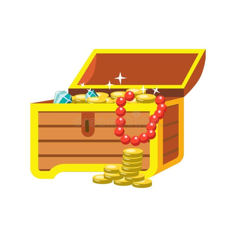 A pecho abierto con los tesoros brillantes del pirata en el fondo blanco libre illustration