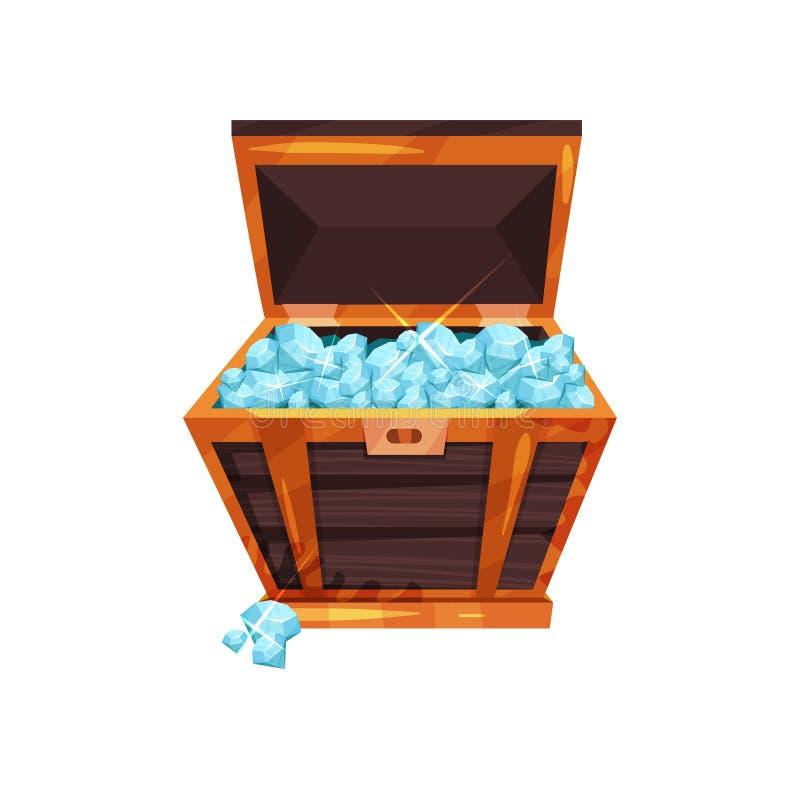 A pecho abierto viejo por completo de piedras preciosas Diamantes azules brillantes en caja de madera Símbolo de la riqueza Piedr libre illustration