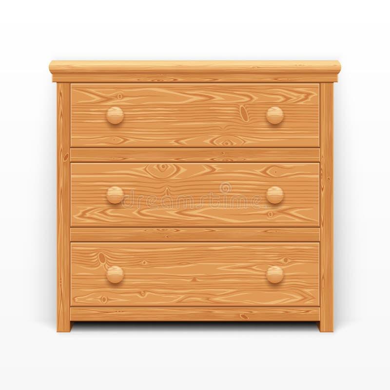 Pecho de cajones de madera marrón claro ilustración del vector
