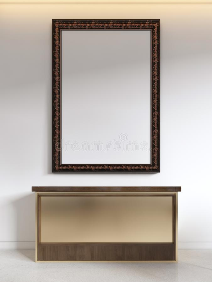Pecho de cajones dorado moderno sobre la imagen Cartel de la maqueta ilustración del vector