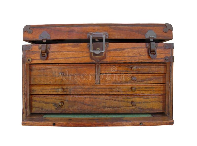 Pecho de herramienta de madera viejo aislado. fotografía de archivo libre de regalías