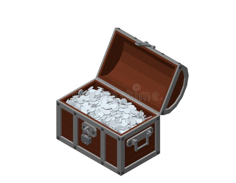 Pecho de madera abierto con las monedas de plata Aislado en el backgro blanco libre illustration