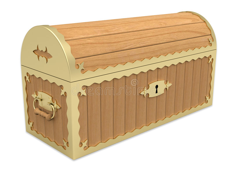 Pecho de madera bloqueado libre illustration