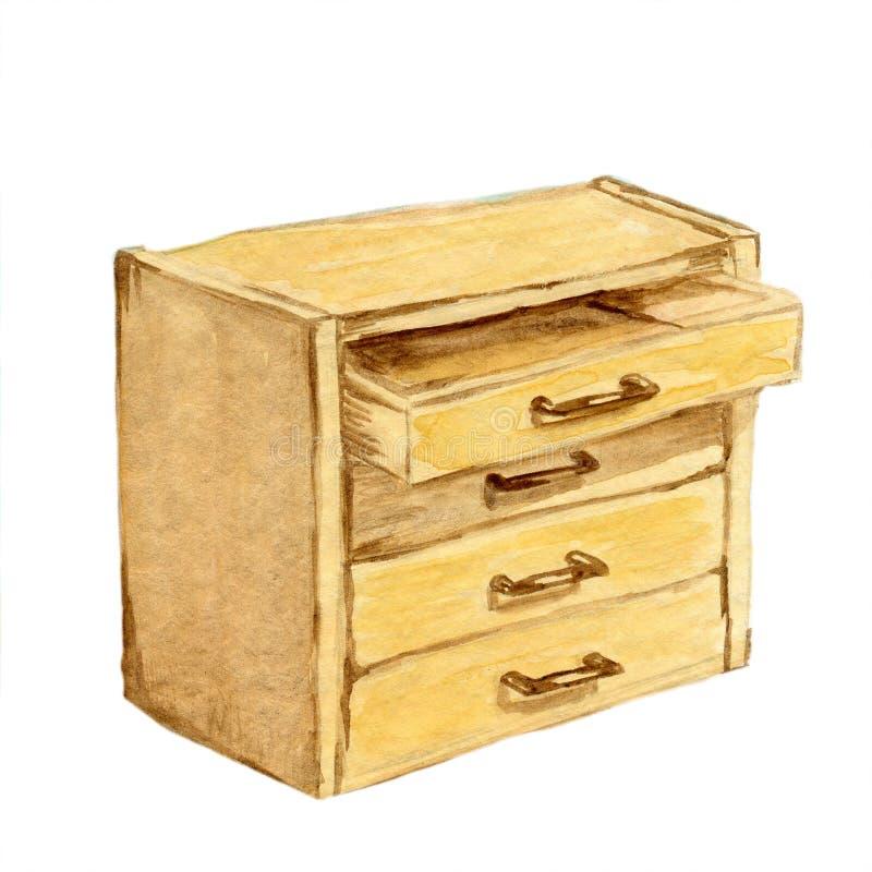 Pecho de madera de Brown del Watercolour de cajones foto de archivo libre de regalías