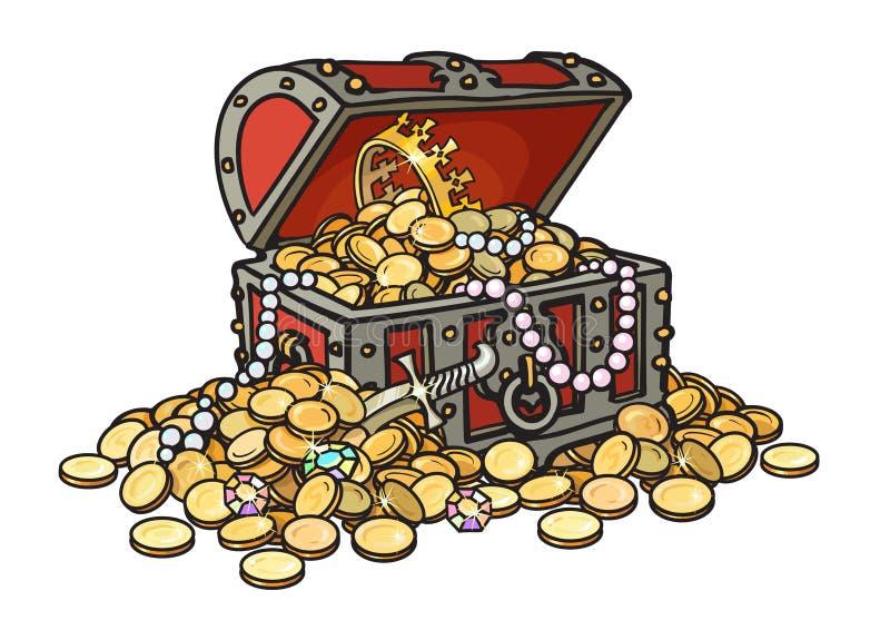 Pecho de madera viejo por completo de monedas y de la joyería de oro Piratee el tesoro, diamantes, perlas, corona, daga Historiet ilustración del vector