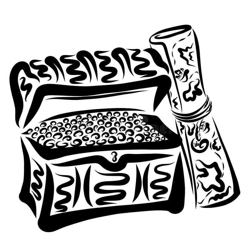 Pecho por completo de monedas y de un mapa a buscar para el tesoro libre illustration