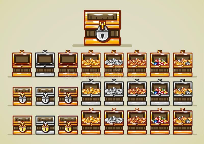 Pechos abiertos y cerrados con las monedas y gemas para los videojuegos ilustración del vector