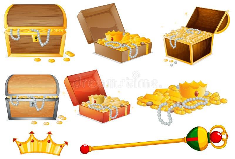 Pechos de Treassure y objetos de oro ilustración del vector